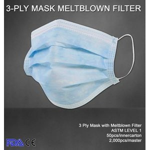 3-Ply Disposable Face Mask- Ships SAME DAY. Low Minimum - Free Shipping (2K+)